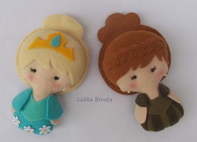 Princesas Elsa e Anna do filme Frozen em feltro para lembrancinhas