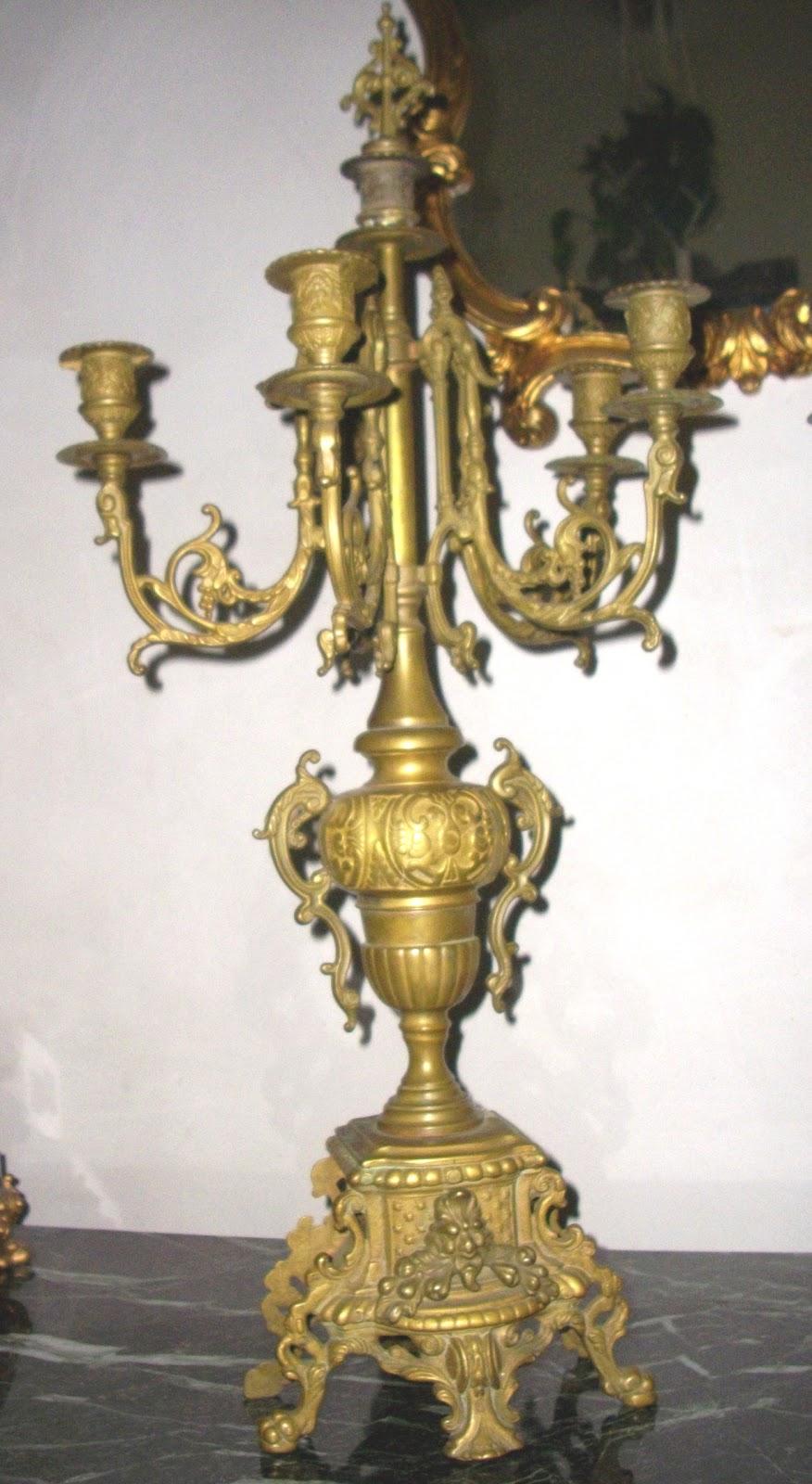 paire de chandeliers cand labres en bronze pour pendule cartel ancien xixeme. Black Bedroom Furniture Sets. Home Design Ideas