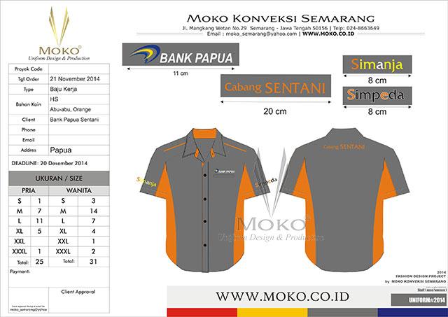 Jual Baju Kemeja Kerja Bank Papua Cabang Sentani, Papua