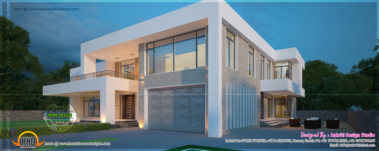 New modern villa exterior kerala home design and floor plans for Exterior villa design