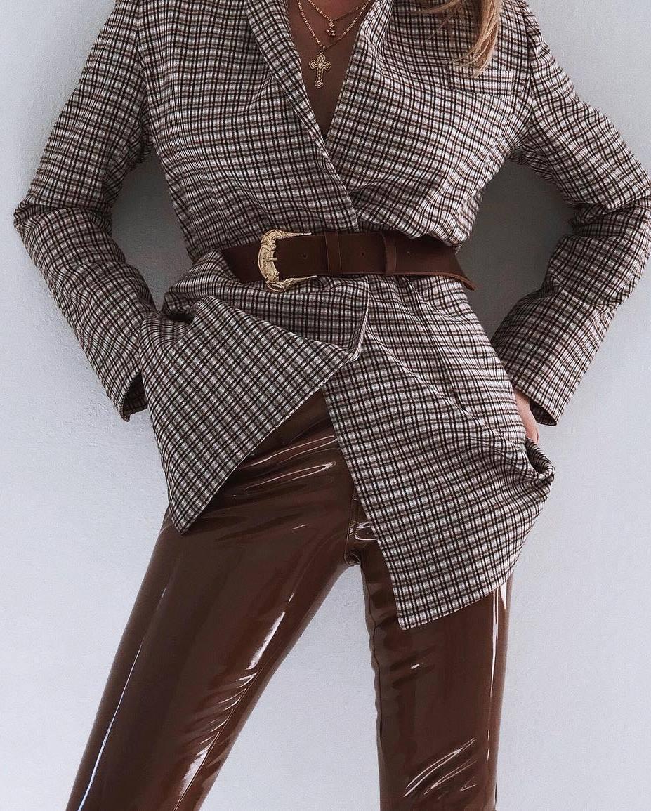 fashion trends | plaid blazer + belt + brown leather pants