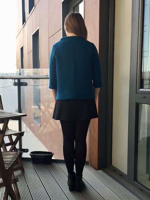 Diary of a Chain Stitcher: Teal Boiled Wool Toaster Sweater from Sew House Seven