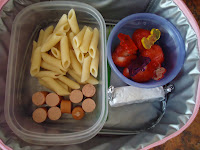 Pasta, Hot Dog and Strawberries