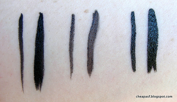 Swatches of Physician's Formula Eye Booster 2-in-1 Lash Boosting Eyeliner + Serum in Ultra Black, L'Oréal Lineur Intense Felt Tip Liquid Eyeliner in Carbon Black, and Stila Stay All Day Liquid Liner in Black