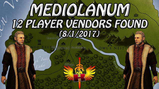 Mediolanum, 12 Player Vendors Found & Checked (8/1/2017) 💰 Shroud of the Avatar Market Watch