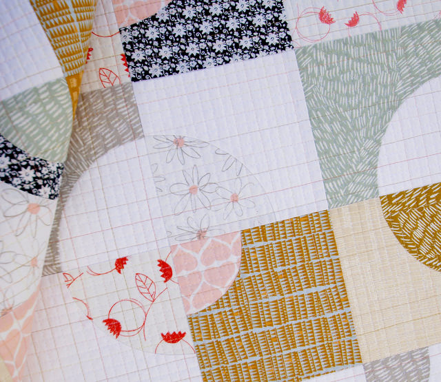 Umbrella Prints Flowers - Drunkard's Path Variation Quilt | Red Pepper Quilts 2015