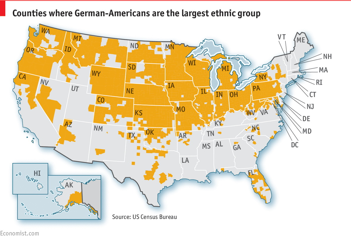 Counties where German-Americans are the largest ethnic group