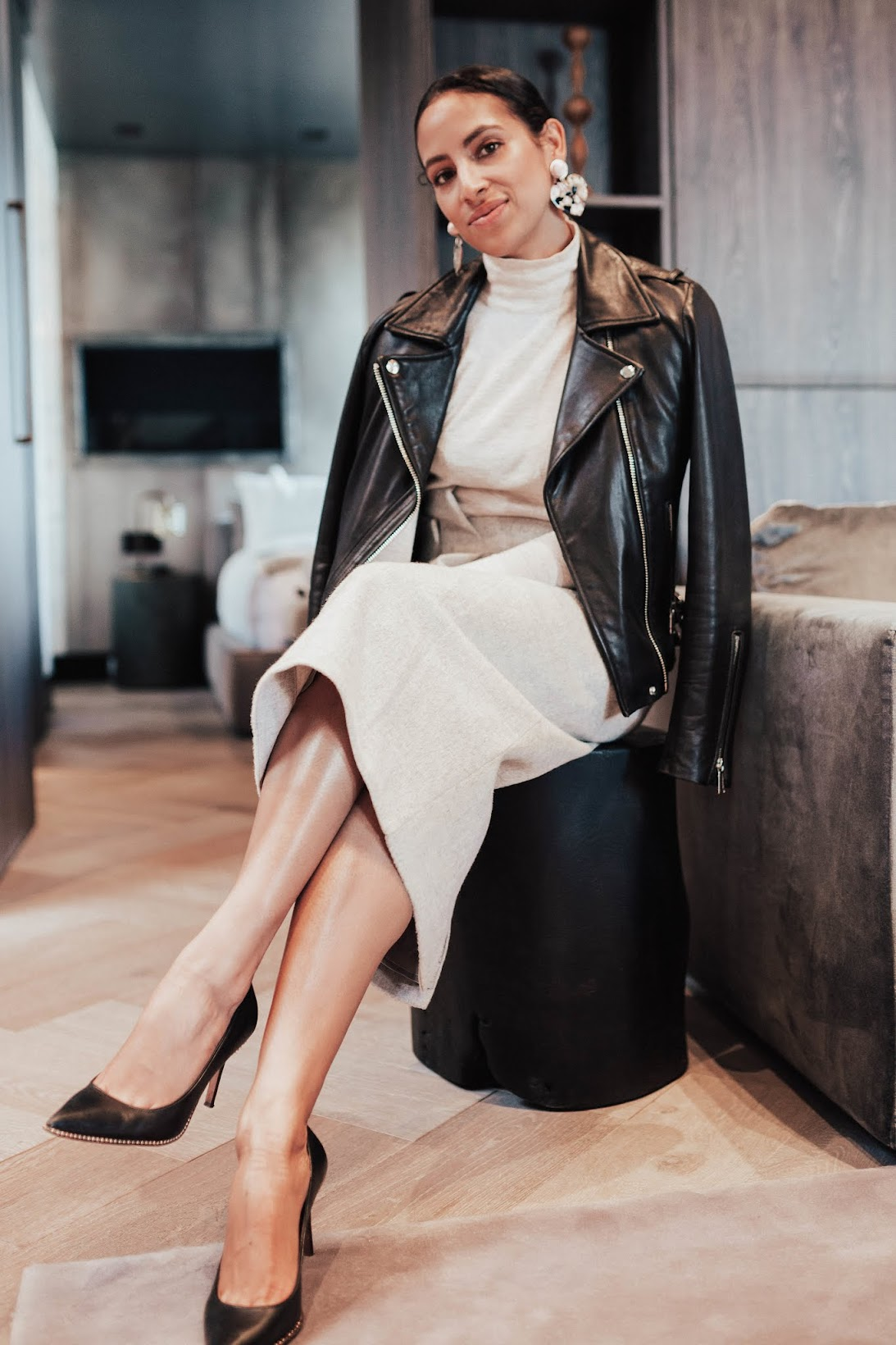 the modern business woman, Coach leather moto jacket, turtleneck, COS wool pencil skirt, chic work style