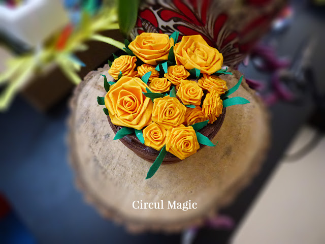 Cadou Handmade Femei Decoratiune Ghiveci Flori Quilling Circul Magic