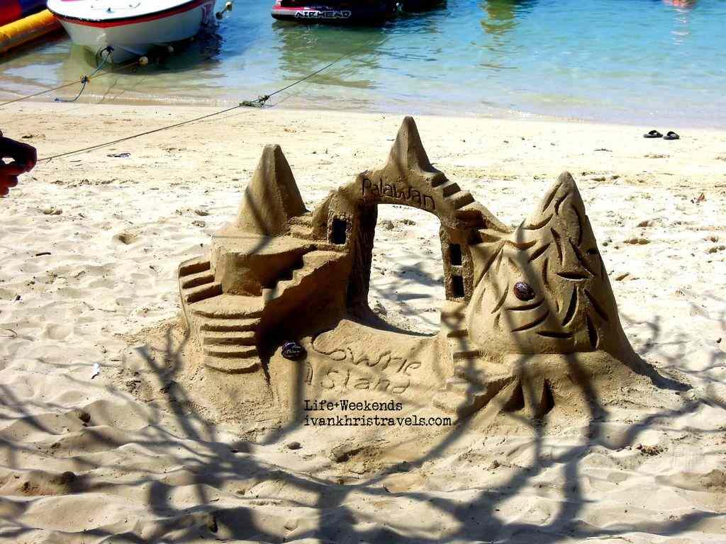 Honda Bay Island Hopping Tour Cowrie Island sand castle