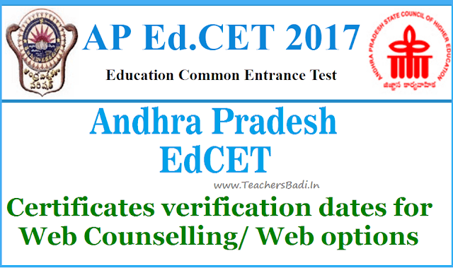 APEdCET 2017 Certificates verification dates,Web Counselling,web options
