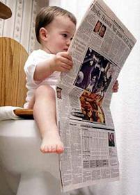 smešne slike: dete čita novine na VC šolji