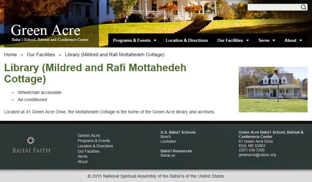 Страница сайта школы бахаи Грин Эйкр
