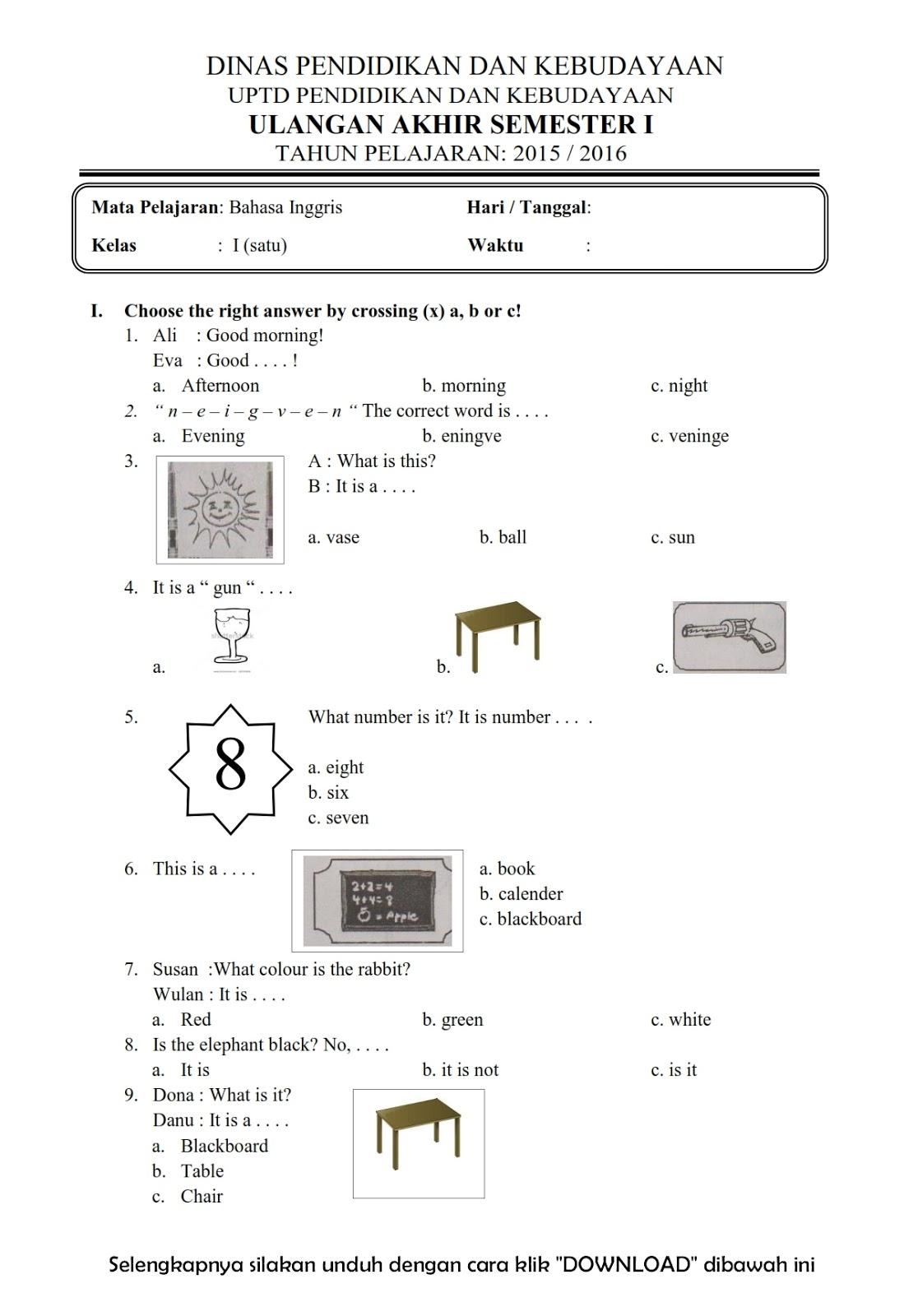 Download Soal Uas Ganjil Bahasa Inggris Kelas 1 Semester 1