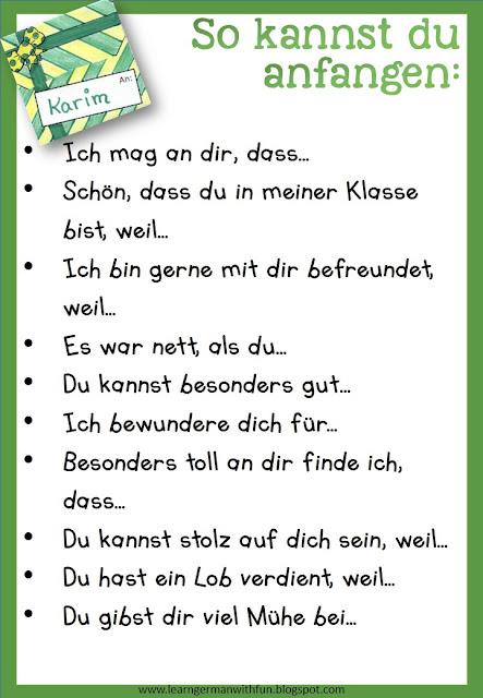 """Satzanfänge und Formulierungshilfen für die Grundschule zum Thema """"Komplimente machen"""""""