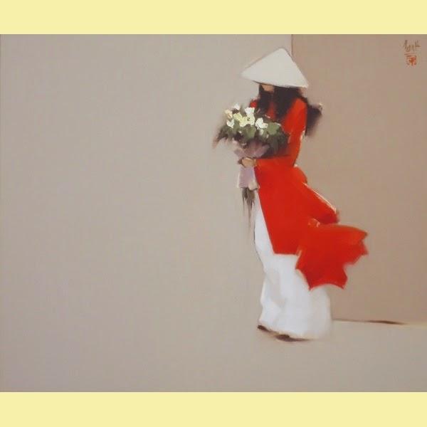 Aluna Esperando com Flores - Thanh Binh e Suas Pinturas Elegantes - Vietnamita
