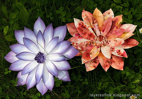 Layers of ink - Dahlia Dimensional Paper Flowers Tutorial by Anna-Karin Evaldsson.