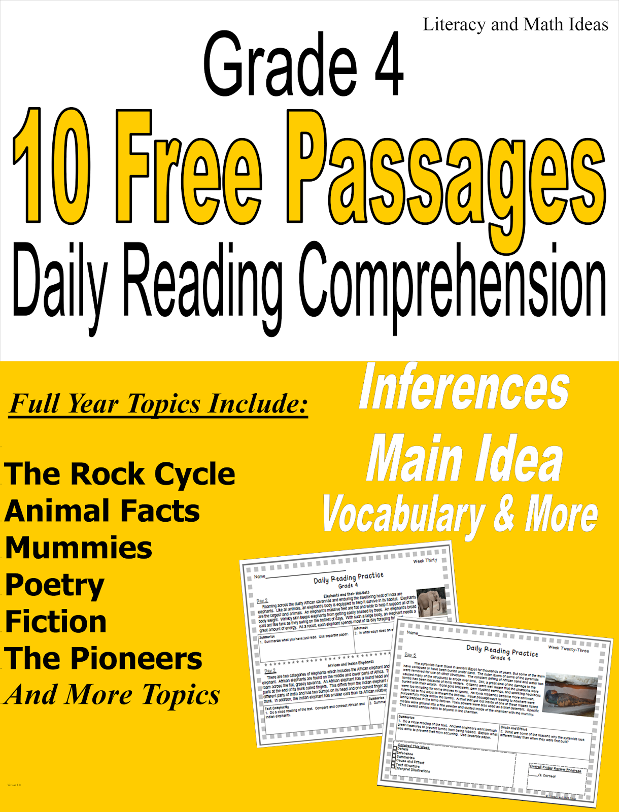 Literacy Amp Math Ideas Free Grade 4 Daily Reading Comprehension Passages