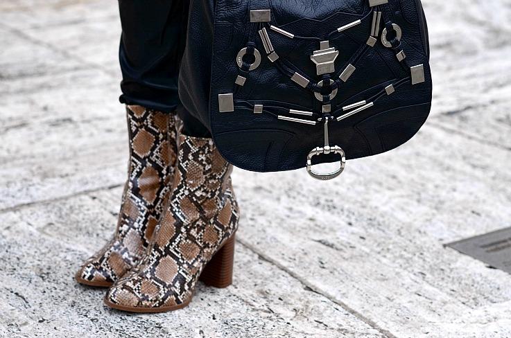 Mango Snake skin ankle boots, Gucci Techno horsebit bag