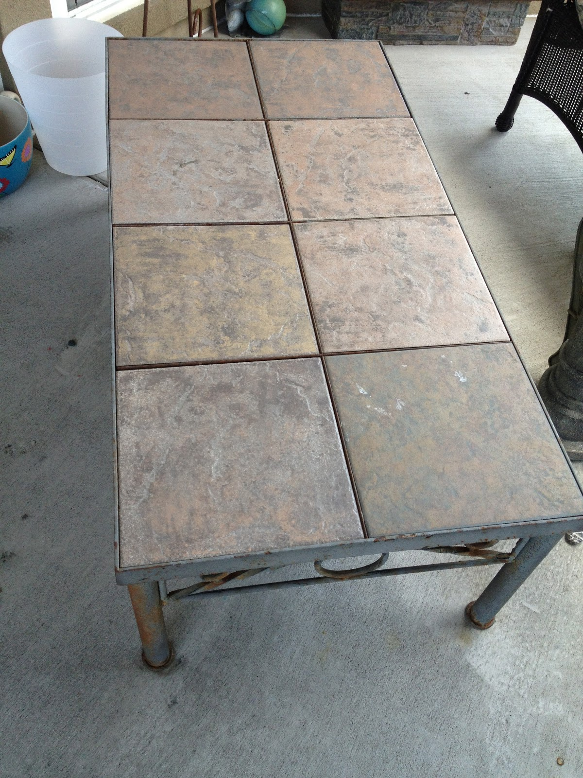 2013 Moving Sale Eden Prairie Metal And Tile Table Set With Removable Tiles Coffee