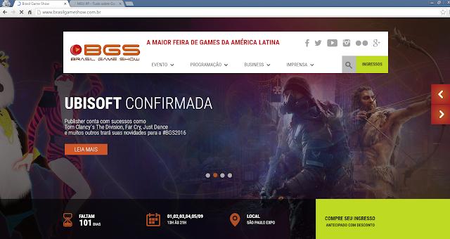 Novo site da Brasil Game Show