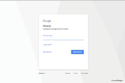 Google (Gmail) untuk masuk ke Google Webmaster Tool