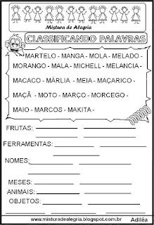 Classificar palavras com letra M