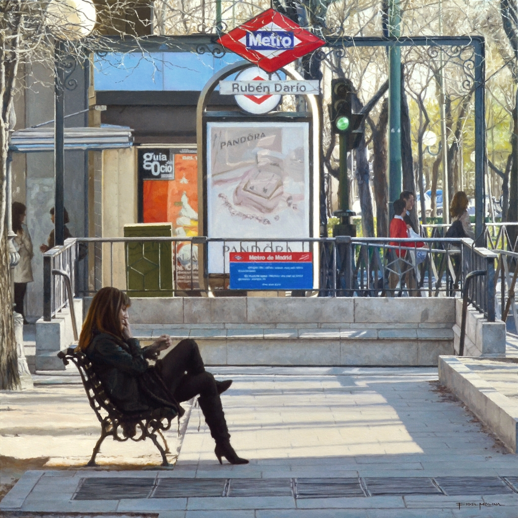 09-Sentada-frente-a-la-entrada-del-metro-Fidel-Molina-Realistic-Paintings-of-Cities-Frozen-in-Time-www-designstack-co