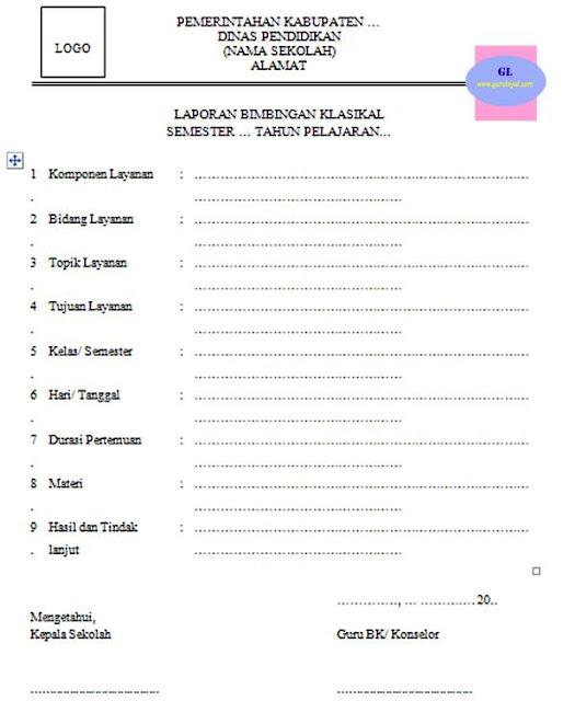 contoh format laporan bimbingan klasikal (untuk sd smp sma smk)