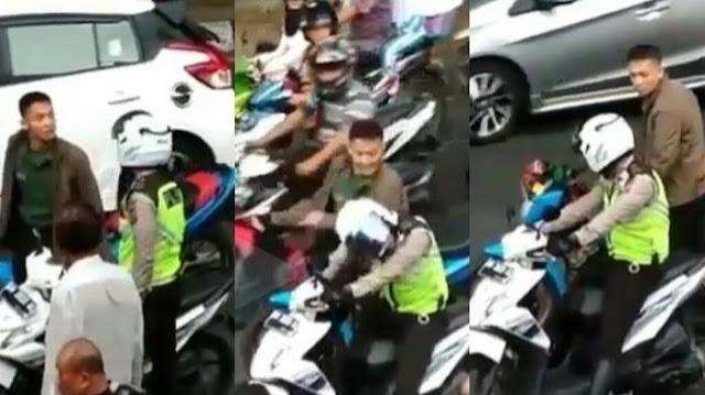 Mengecewakan, Seorang Oknum TNI Pukul Kepala Polantas Hingga 4 Kali