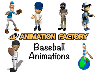 Clipart Image of a Baseball Sticker Pack from Animation Factory