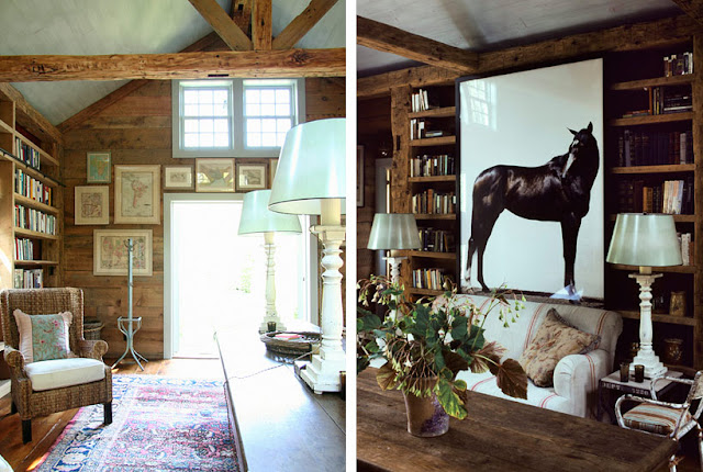 Rustic wood walls in elegant library of Barn conversion home by Carrier and Company