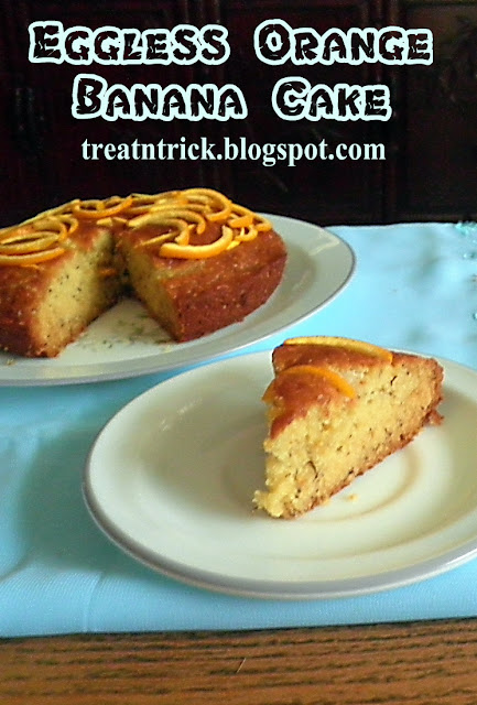 Eggless Orange Banana Cake Recipe @ http://treatntrick.blogspot.com