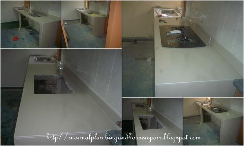 Normal Plumbing Proses Membina Table Top Kabinet Dapur