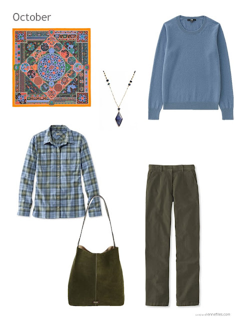 a cool-weather outfit in blue and olive, based on an Hermes scarf