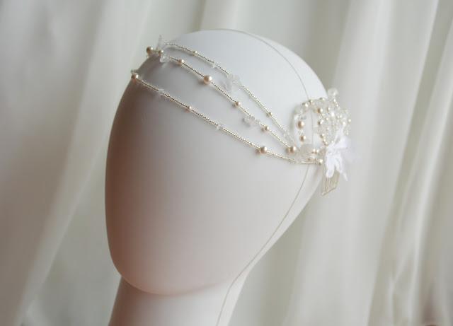 peigne headband blanc mariage cristal