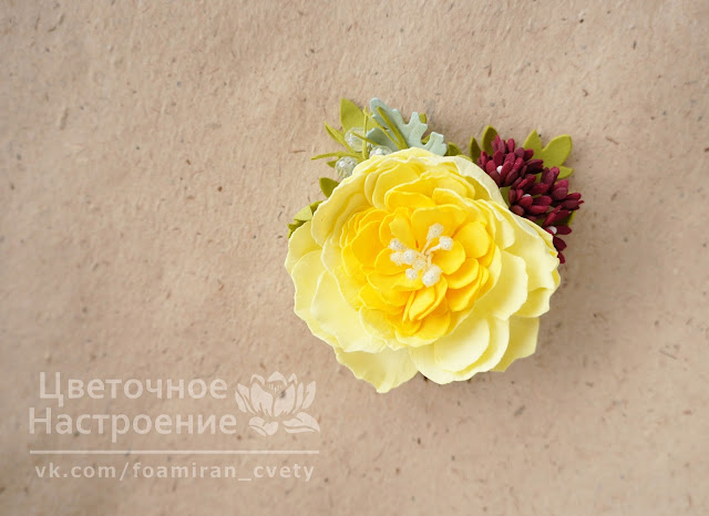 гребешок с розой из фоамирана