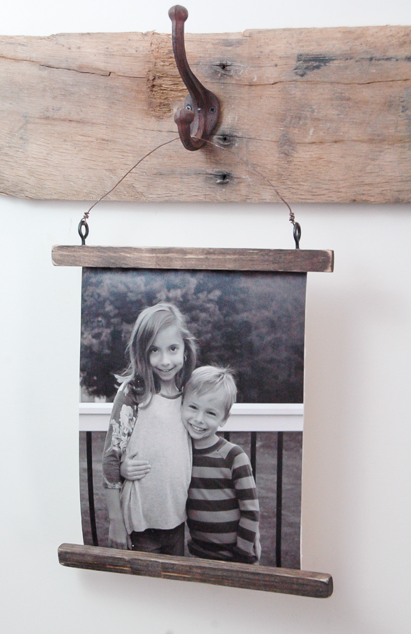 Rustic wire photo hanging