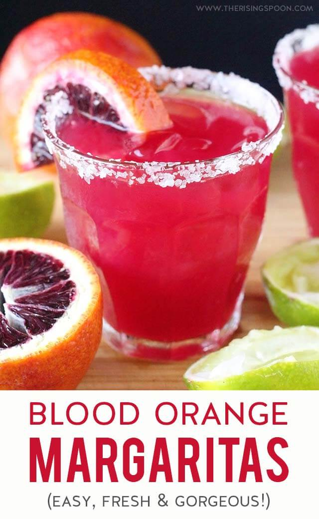 Learn how to make blood orange margaritas at home with fresh blood oranges (or bottled juice), limes, raw honey, and 100% agave silver tequila. This drink recipe looks beautiful (the color is gorgeous), goes down easy, and uses simple ingredients that are easy to find.