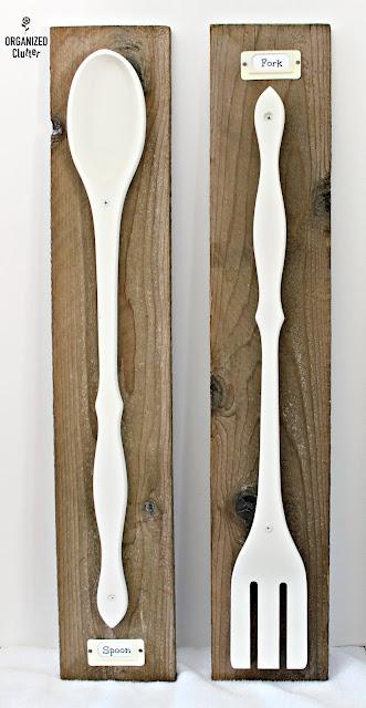 Large Wooden Spoon & Fork Kitchen Art organizedclutter.net