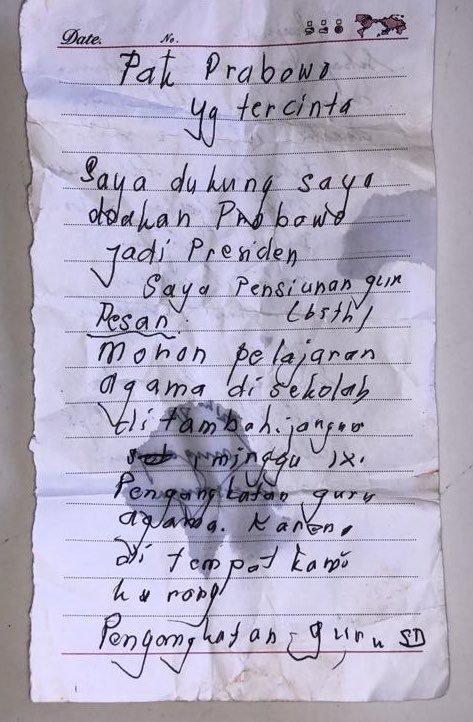 Ditulis Tangan, Ini Pesan Mengharukan Pensiunan Guru 65 Tahun untuk Prabowo