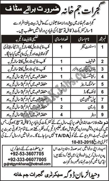Gujrat Gym Khana for Different Post February 2018 Latest Jobs