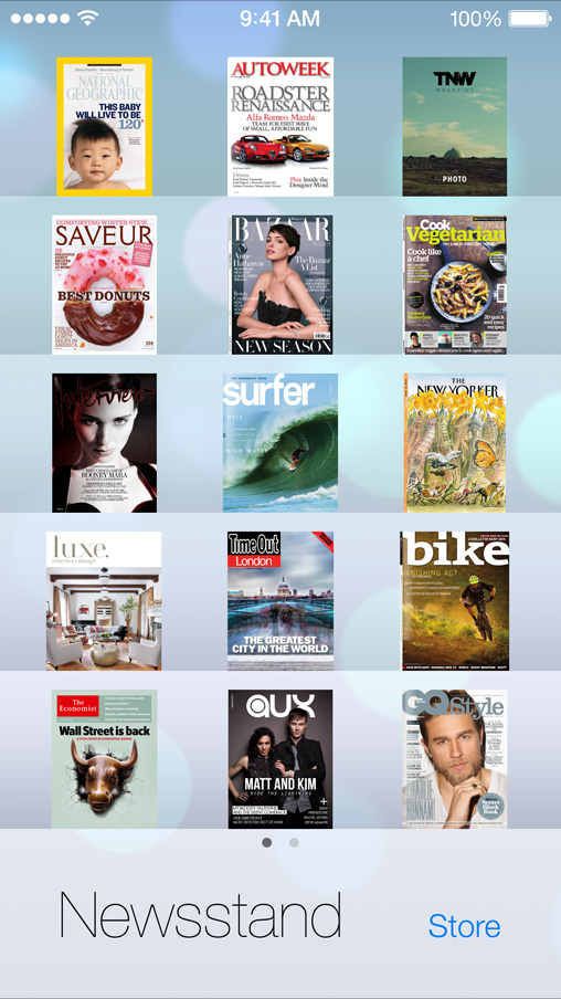 iOS 7 Newsstand, iTunes