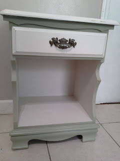 olive tea green heirloom white nightstand
