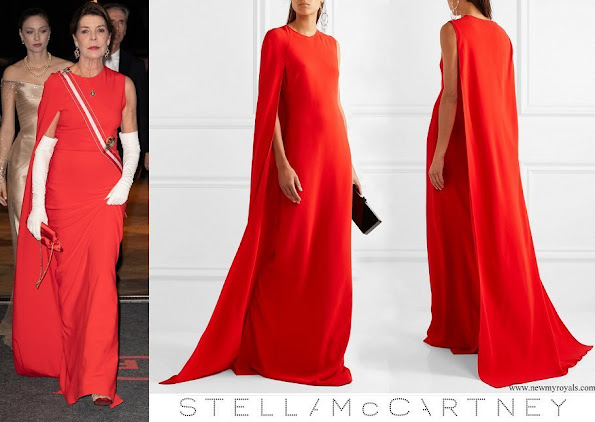 Princess Caroline wore Stella McCartney Cecilia cape effect cady gown