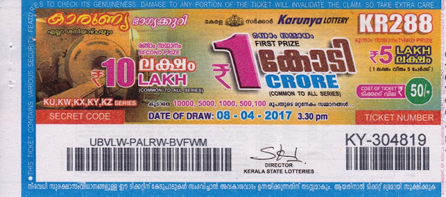 Live Kerala Lottery Result of Karunya (KR-289) on 08 April 2017