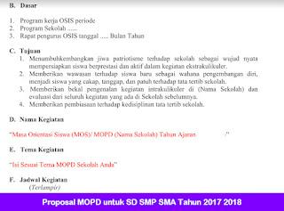 Proposal MOPD untuk SD SMP SMA Tahun 2017 2018