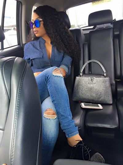 Image result for What recession? Toke Makinwa just flaunted N2.7m LV Capucines Bag (Photos)