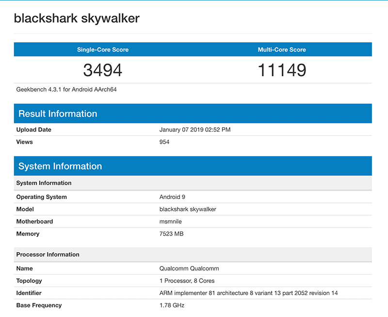 Blackshark Skywalker Geekbench score