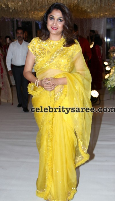 Ramya Krishna Lemon Yellow Saree